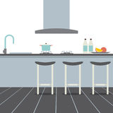 Modern Flat Design Kitchen Interior Royalty Free Stock Images