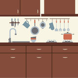 Modern Flat Design Kitchen Interior Stock Photos