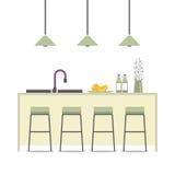 Modern Flat Design Kitchen Interior Royalty Free Stock Photos