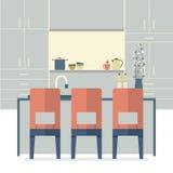 Modern Flat Design Kitchen Interior Stock Photography