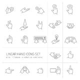 Modern flat design  linear hand and fingers gesture icons Royalty Free Stock Photo