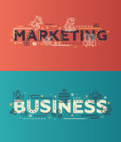 Modern flat design Marketing, Business lettering with business line icons Royalty Free Stock Images