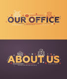 Modern flat design Our Office, About Us lettering with icons Royalty Free Stock Images