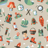 Modern flat design pattern of camping and hiking Stock Images