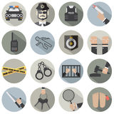 Modern Flat Design Police And Law Icon Set Stock Photography