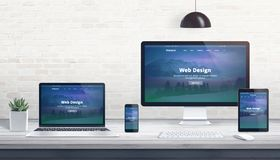 Modern flat design, responsive web site on multiple devices royalty free stock image