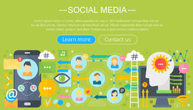 Modern flat design Social media concept. Social media icons Website Header, app design poster. Digital marketing Stock Images
