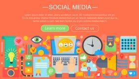 Modern flat design Social media concept. Social media icons Website Header, app design poster. Digital marketing. Infographics template. Vector illustration Royalty Free Stock Photography