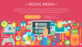 Modern flat design Social media concept. Social media icons Website Header, app design poster. Digital marketing. Infographics template. Vector illustration Stock Image