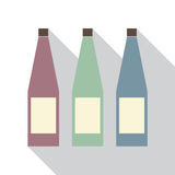 Modern Flat Design Of Three Different Color Bottles Stock Images