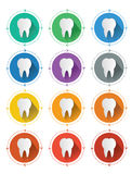Modern flat design tooth icons set with long shadow effect Stock Photos