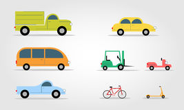 Modern Flat Design Transport Symbols Stylish Retro. Set of transportation. Modern Flat Design Transport symbols Stylish Retro Car Icons Set Vector Illustration stock illustration