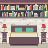 Modern Flat Design Twin Bedroom Stock Photography