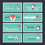 Modern flat design Valentines day greeting cards and banners Royalty Free Stock Photos