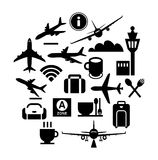 Modern flat design vector icons for airport terminal and service in black Royalty Free Stock Photography