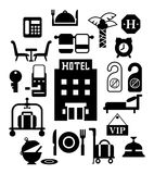 Modern flat design vector icons for hotel service in black Stock Images
