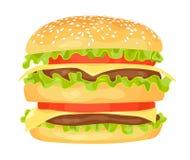 Modern flat design vector illustration of big hamburger Royalty Free Stock Photography