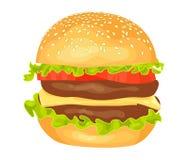 Modern flat design vector illustration of big hamburger Stock Photography