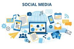 Concept of social media & social networking. Modern flat design vector illustration, concept of social media, social networking, web communtity and posting Stock Images