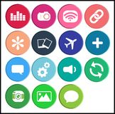 Internet web icon set button, colorful vector design. Pink, blue and green. Modern flat design vector illustration icons set of user interface design, web stock illustration