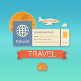Modern flat design web icon on airline tickets Royalty Free Stock Photography