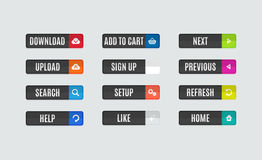 Modern flat design website navigation buttons. Set of modern flat design website navigation buttons. Rectangle shape. Help like search download upload setup sign Royalty Free Stock Photo