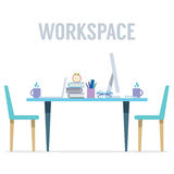Modern Flat Design Workplace With Skyscraper View Stock Photos