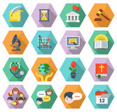 Modern Flat Education Icons in Hexagons. Set of modern flat educational icons of different subjects and concepts in multicolored hexagons with long shadows Royalty Free Stock Photo