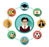 Modern flat education icons set with long shadow effect Royalty Free Stock Photo
