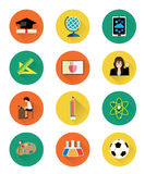 Modern flat education icons set with long shadow effect Royalty Free Stock Photography