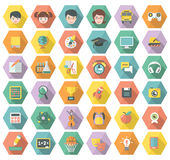 Modern Flat Education and Leisure Icons in Hexagon. Set of 36 modern flat education and leisure symbols in multicolored hexagons with long shadows vector illustration