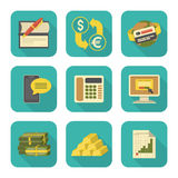 Modern Flat Financial Icons Set. Set of modern flat stylized financial icons with long shadows Royalty Free Stock Photos