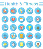Modern Flat Fitness and Wellness Icons Royalty Free Stock Photography