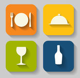 Modern Flat Food Icon Set for Web Royalty Free Stock Images