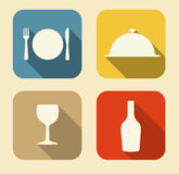 Modern Flat Food Icon Set for Web and Mobile Royalty Free Stock Photos