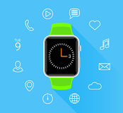 Modern flat green smartwatch with app icons on blue background Stock Images