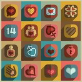 Modern flat heart valentine icons Stock Images