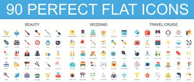 90 modern flat icon set of beauty, wedding, travel cruise icons. Stock Photography