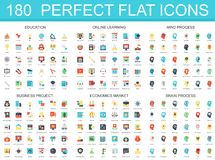 180 modern flat icon set of education, online learning, brain mind process, business project, economics market icons. 180 modern flat icon set of education royalty free illustration