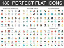 180 modern flat icon set of Legal law justice, banking finance, economics market, insurance, e commerce, cyber security. Icons Royalty Free Illustration