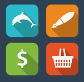 Modern Flat Icon Set for Web and Mobile Royalty Free Stock Images