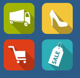 Modern Flat Icon Set for Web and Mobile Stock Images