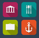 Modern Flat Icon Set for Web and Mobile Stock Photos