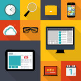 Modern Flat Icon Set for Web and Mobile Application Royalty Free Stock Photos
