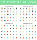 120 modern flat icon set of workplace, creative process, mind process, human productivity icons. 120 modern flat icons set of workplace, creative process, mind Vector Illustration