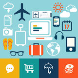 Modern flat icon weather and travel collection Royalty Free Stock Photography