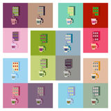 Modern flat icons  collection cup coffee and chocolate bar Royalty Free Stock Photography