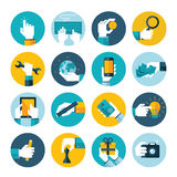 Modern flat icons  collection of hand using variou. Modern flat icons  collection of hand using devices, using money, repairs, write, give a gift, play chess Stock Photos