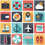 Modern flat icons collection with long shadow in colors of traveling Royalty Free Stock Photo