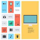 Modern flat icons. Collection with long shadow effect in stylish colors of web design objects, business, office and marketing items.  on white background Stock Photography